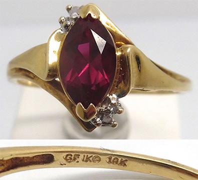 ... карат, Кольцо с большим рубином и бриллиантами, 10-ти каратное золото 0a6e5e7a003